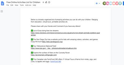 free online activities google doc screenshot
